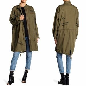 Olive Green Drawstring Jacket Long Coat Stitching